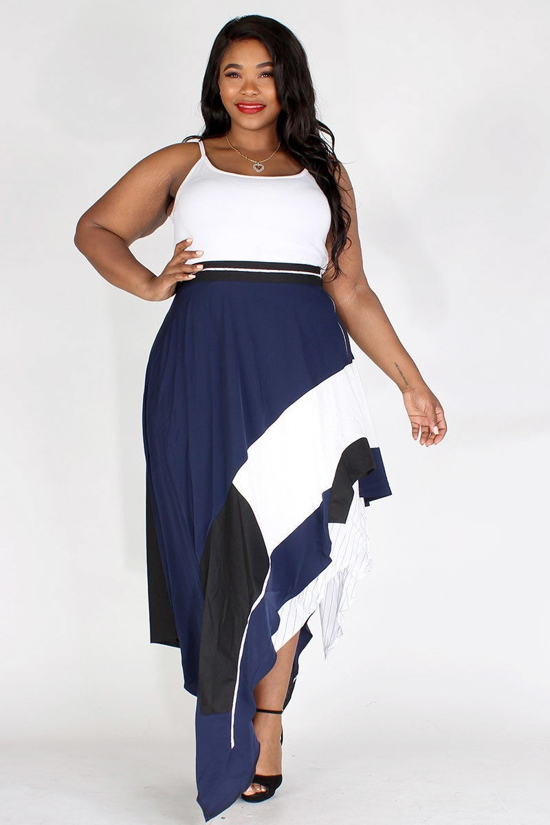 Plus Size Asymetrical Double Layered Skirt