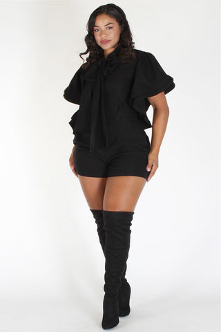 Plus Size Neck Tie Designer Sleeve Romper Black