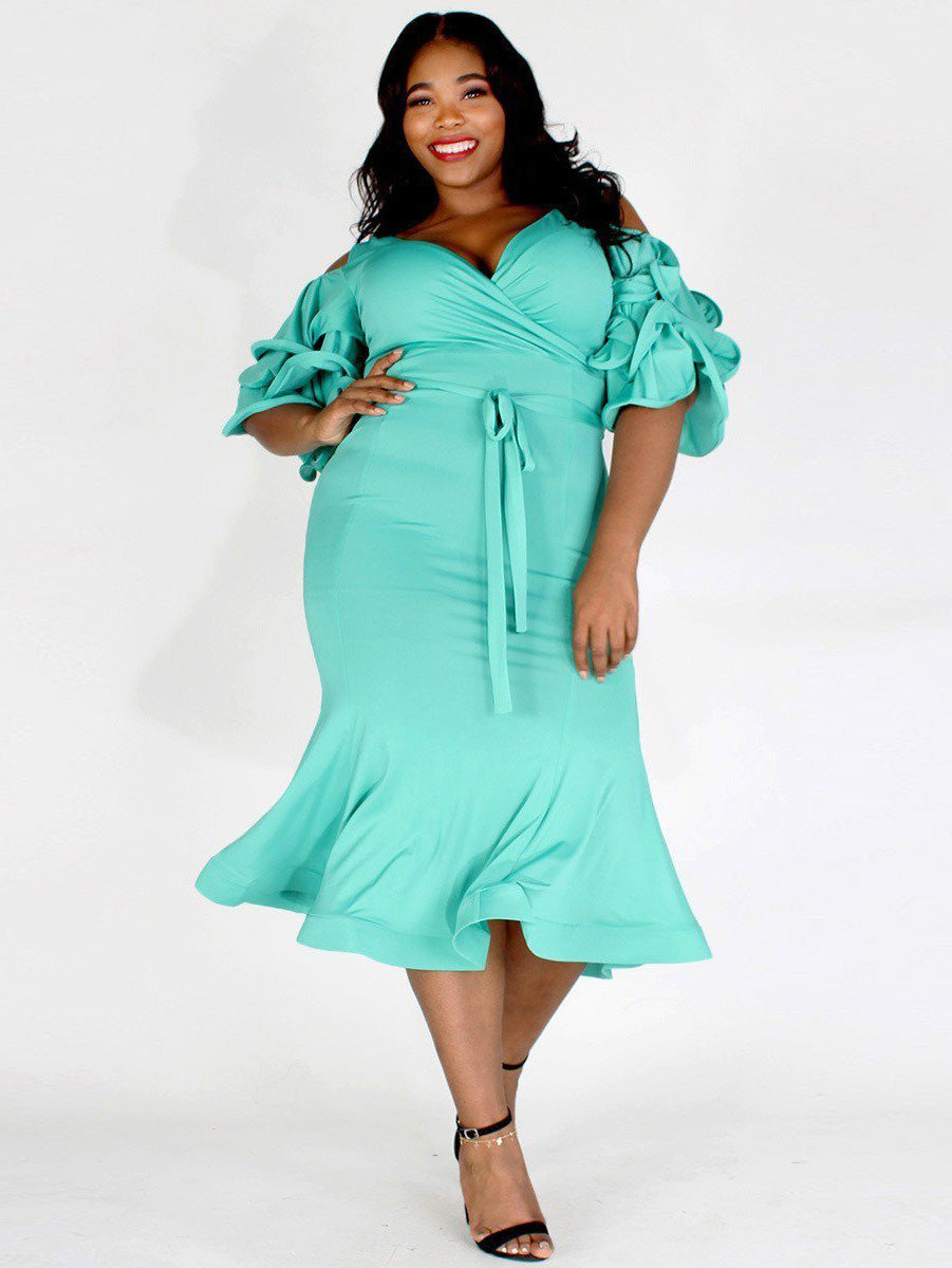 Plus Size 3/4 Sleeve Midi Length Bodycon Dress