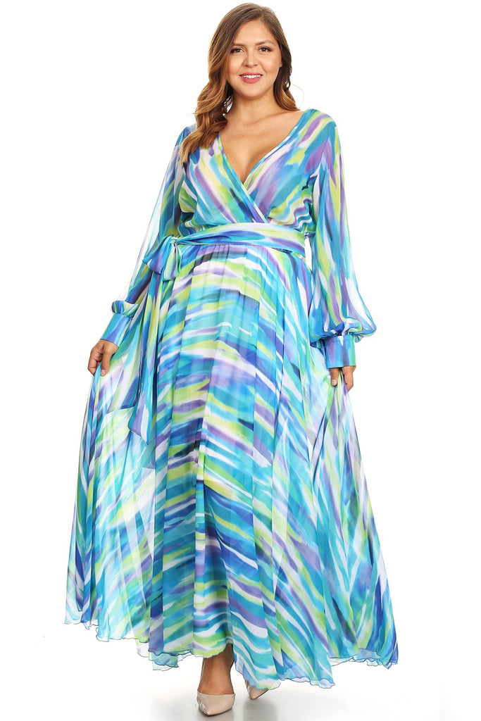 261209cee2 Plus Size Abstract Fit Flare Puff Sleeve Maxi Dress – Plussizefix