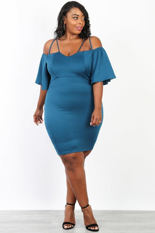 Plus Size Off Shoulder Woven Spaghetti Strap Dress