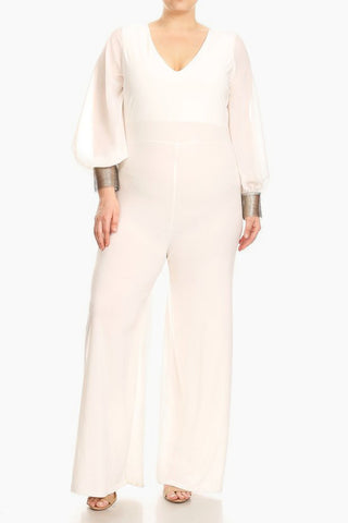 Plus Size Embellished Cuffs Relaxed Fit Jumpsuit
