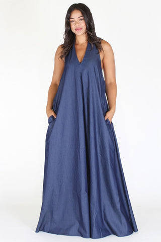 Plus Size Denim Goddess V Neck Maxi Dress