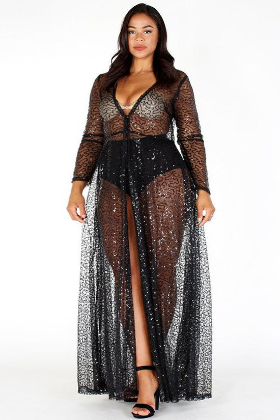 a44556fd6a0 Plus Size Shimmering Sheer Sequin See Through Maxi Dress – Plussizefix