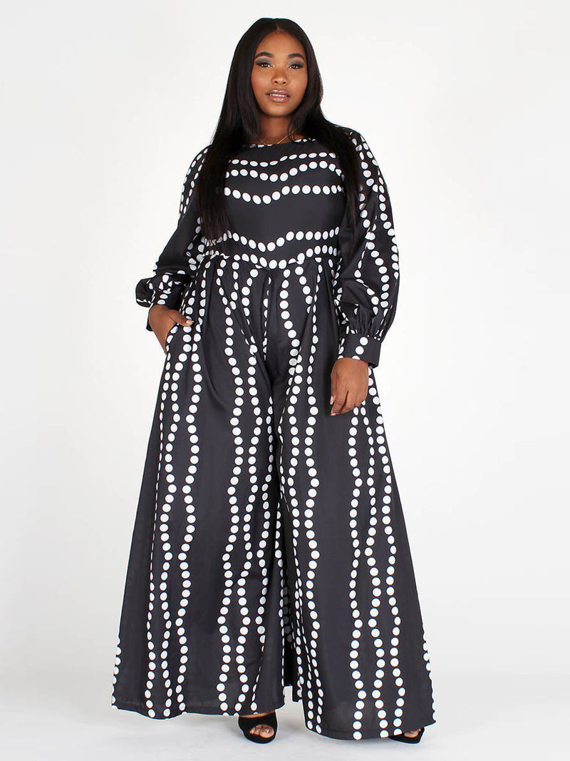 Plus Size Polka Dot Printed Long Sleeve Jumpsuit