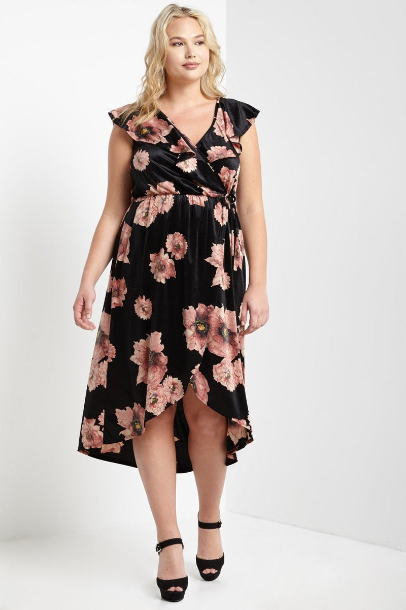 Plus Size Velvet Ruffle Floral Print Midi Dress