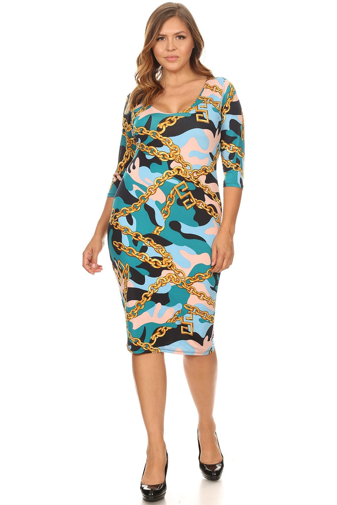 da539a356ab Plus Size Designer Chain Print Camo Bodycon Dress – Plussizefix