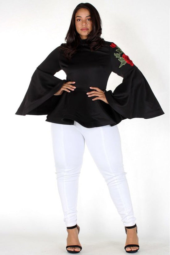 Plus Size Embroidered Rose Peplum Top [PRE-ORDER]