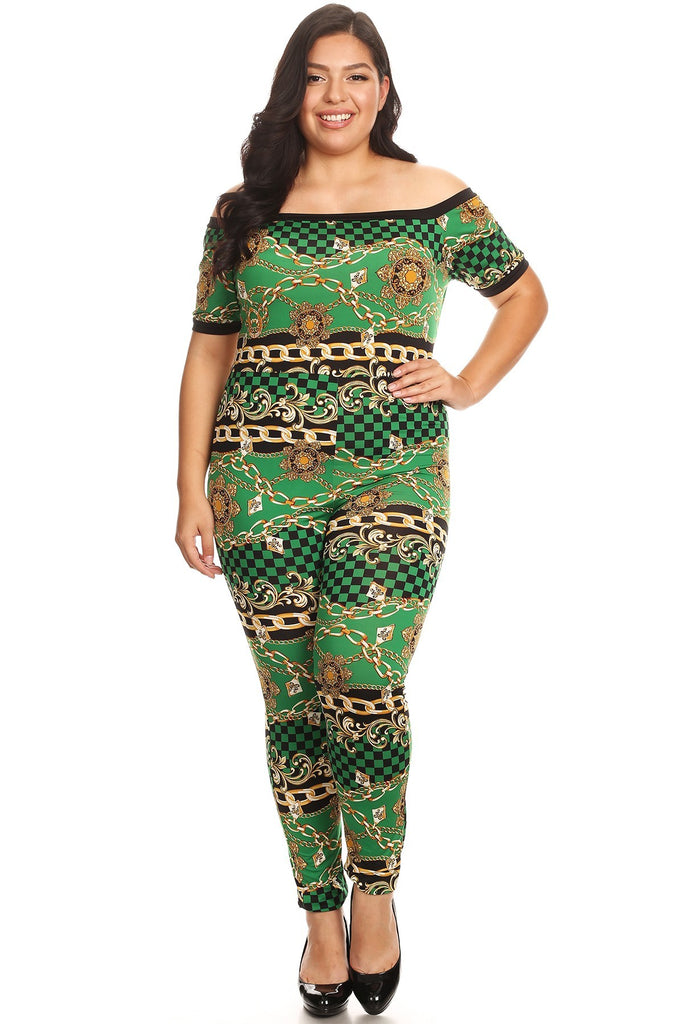 Plus Size Chains Printed Bodycon Fit Checkered Jumpsuit