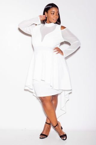 Plus Size Stylish Mesh Sleeves Peplum Cocktail Dress