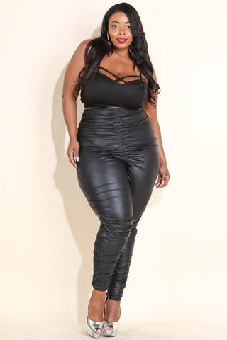 Plus Size High Waist PU Ruched Leggings Dress