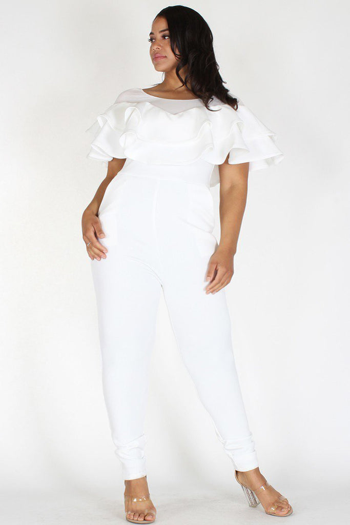 Plus Size Sexy Solid Ruffle Pocketed Jumpsuit