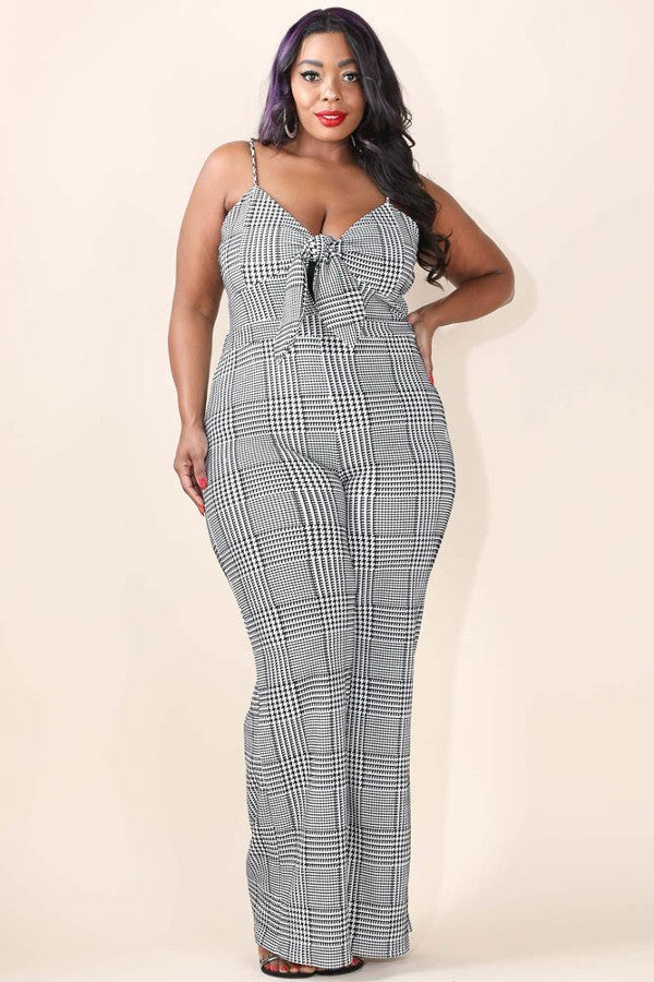 Plus Size Printed Ribbon Polyester Jumpsuit Dress