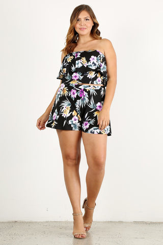 Plus Size Sunny Floral Crop Top and Bottom Set