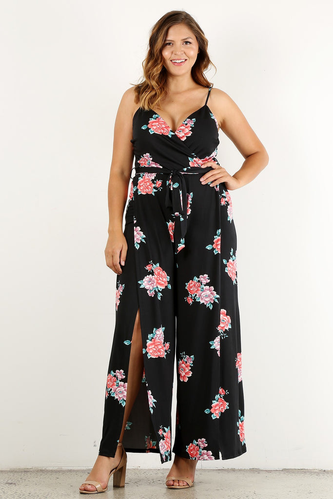 Plus Size Sunday Floral Queen Relaxed Jumpsuit