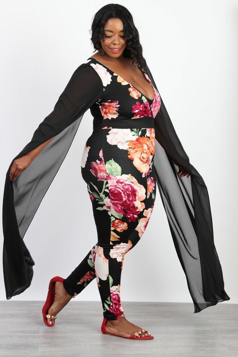 Plus Size Sheer Angel Floral Print Jumpsuit