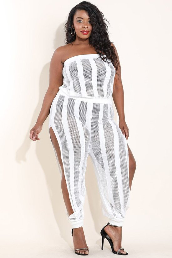 2ff81dc207a9 Plus Size Stylish Side Slit Harem Tube Jumpsuit – Plussizefix