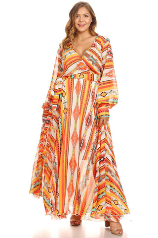 Plus Size Colorful Print Maxi Dress