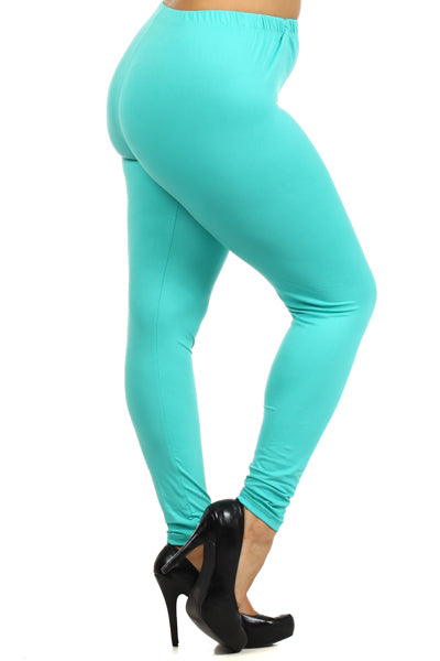 Full Size Printed Leggings With High & Elastic Waist
