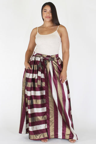 Plus Size Sparkling Stripe Ribbon Tie Maxi Skirt [PRE-ORDER 25% OFF]