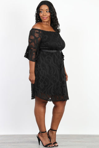 Plus Size See Through Ruffle Sleeve Silhouette Dress