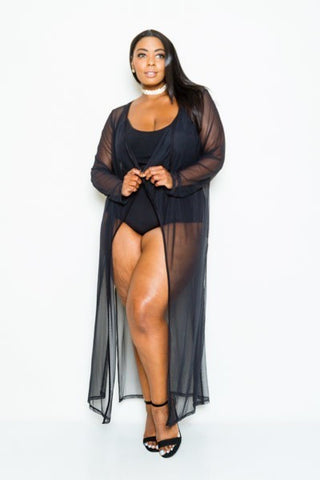 Plus Size Summer See Through Maxi Cardigan