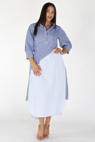Plus Size Modern Asymetrical Elegant Stripe Button Up Dress [PRE-ORDER 25% OFF]