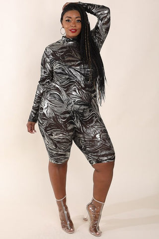 Plus Size Foiled Mesh Long Sleeve Jumper