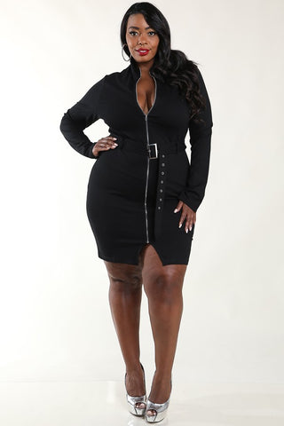 Plus Size Stylish Belted Mockneck Dress