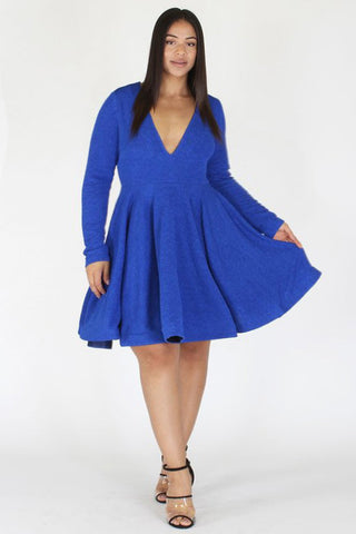Plus Size Dream On Sexy Deep V Flare Dress [PRE-ORDER 25% OFF]