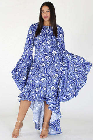Plus Size Beautiful Paisley Bell Sleeve Hi Lo Dress