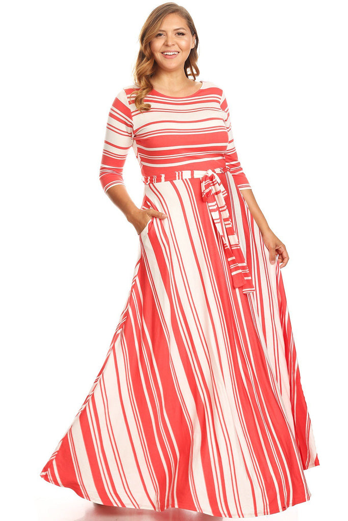 Plus Size Flowy Stripe Summer Maxi Dress – Plussizefix