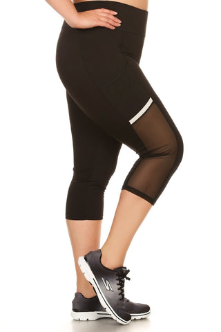 Plus Size High Waist Mesh Cropped Leggings [SALE]
