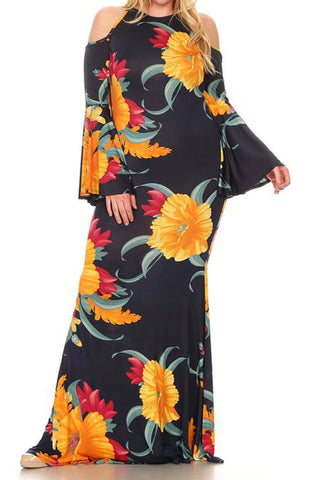 Plus Size Floral Queen Silhouette Maxi Dress