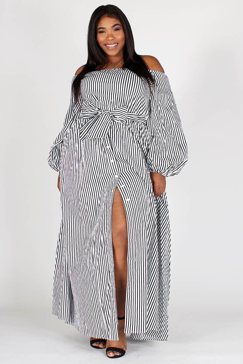 Plus Size Multi Stripe Off Shoulder Puff Sleeve Maxi Dress