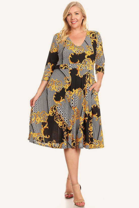 5b2d4f817da Plus Size Designer Print Fit Flare V-Neck Dress – Plussizefix