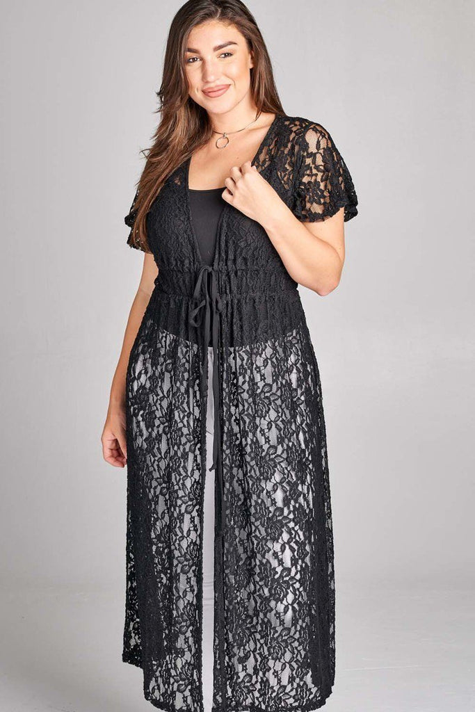 Plus Size Stylish Lace Self Tie Cardigan Top