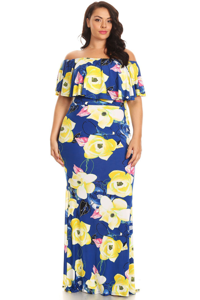 Plus Size Off Shoulder Floral Love Maxi Dress – Plussizefix