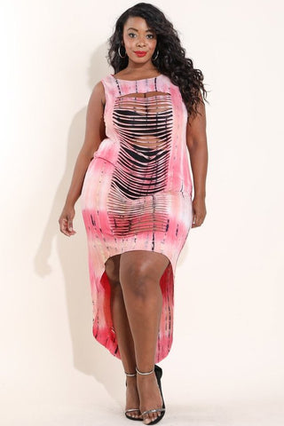 Plus Size Sexy Slashed Hi Lo Tie Dye Dress