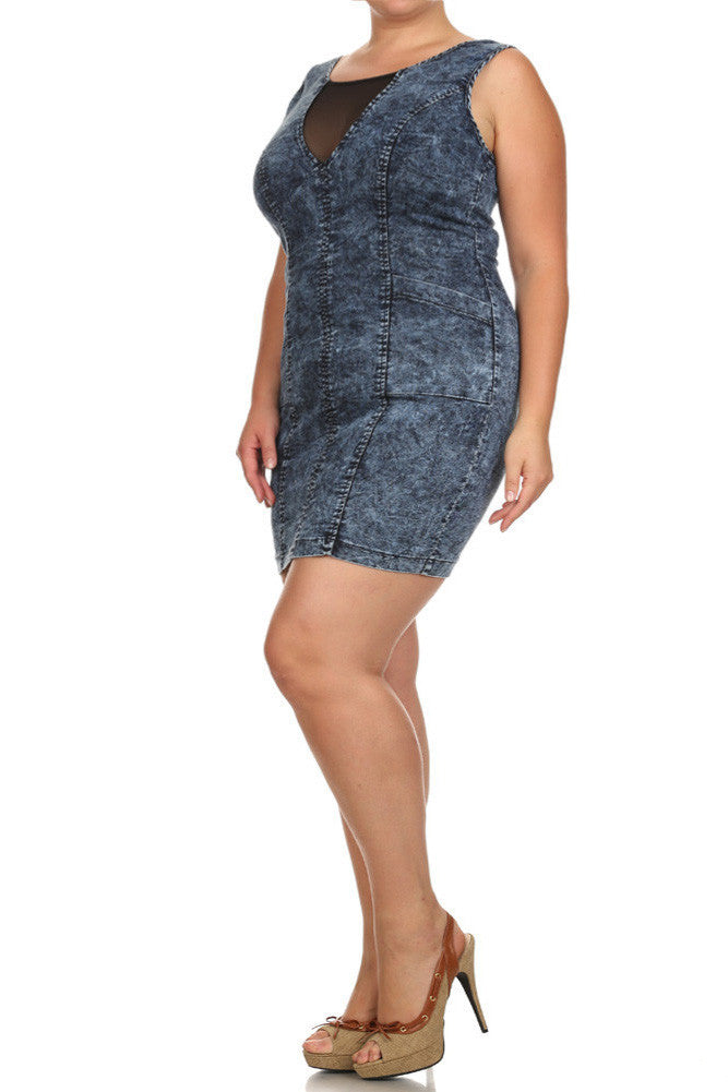 Plus Size Sexy Acid Wash Denim Mesh Dress