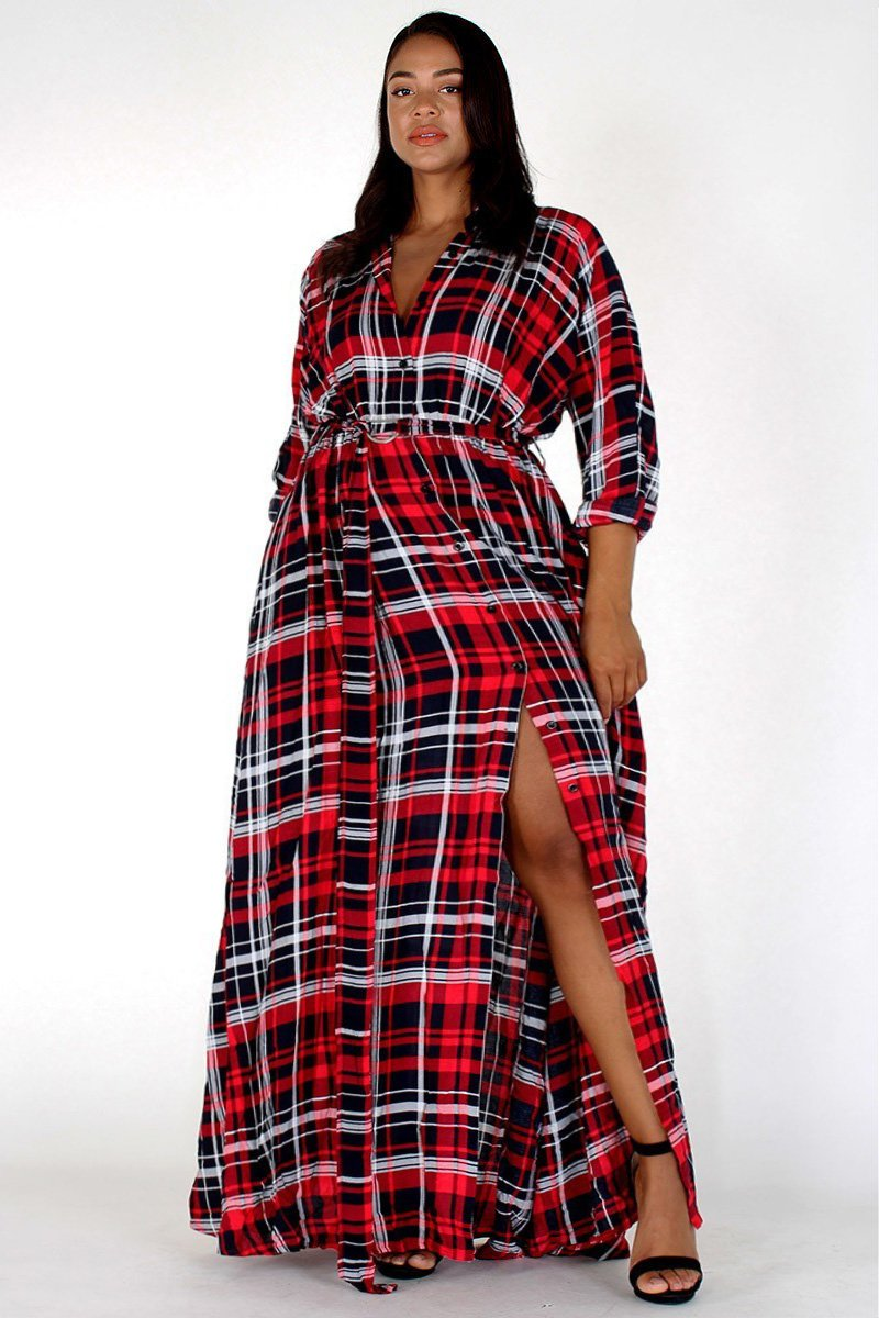 Plus Size Button Up Plaid Rolled Collar Maxi Dress