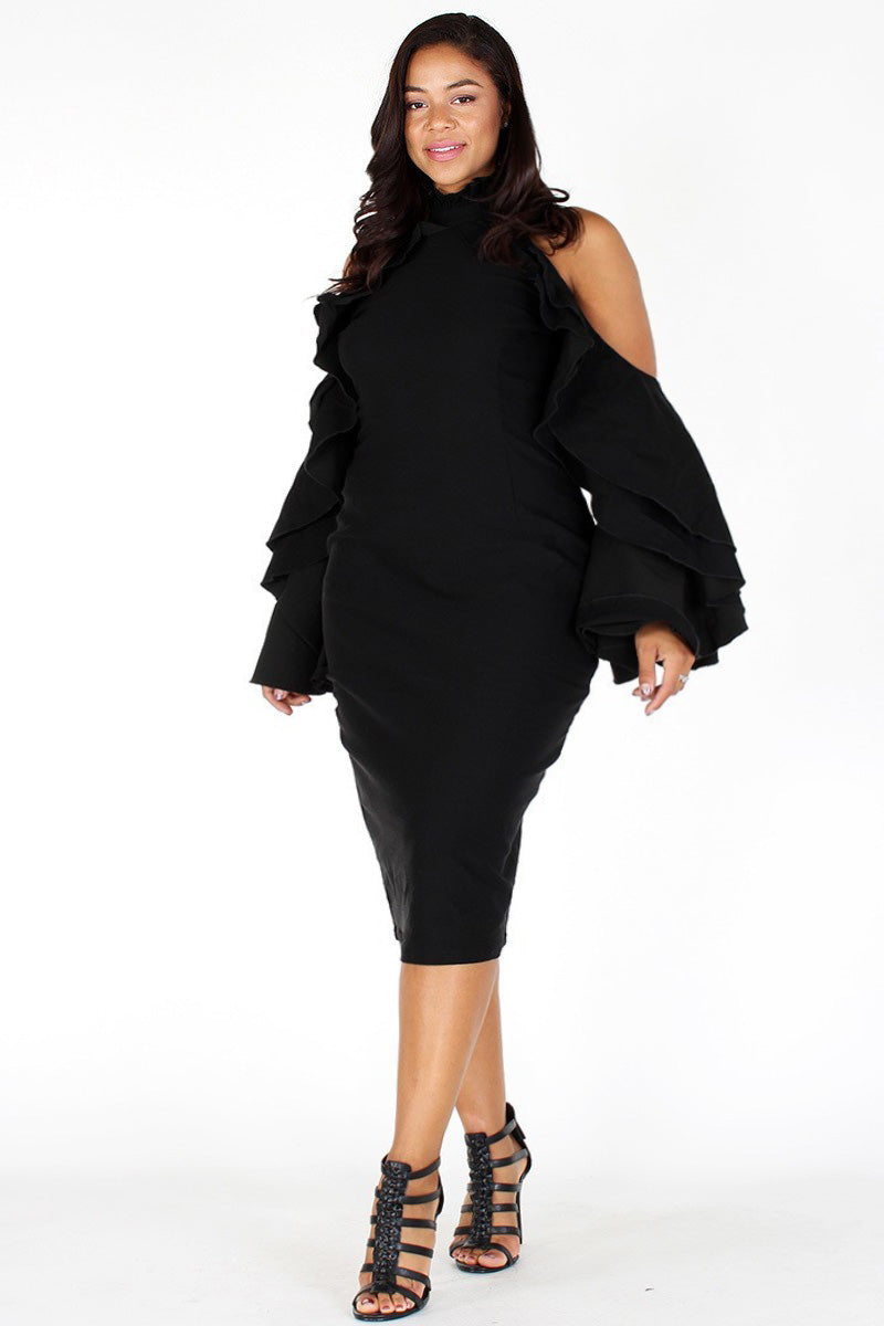 Plus Size Stylish Bell Sleeve Off Shoulder Dress
