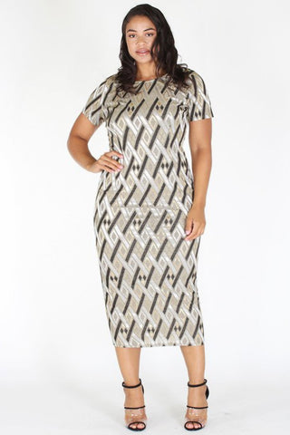Plus Size Gold Shine Bright Shimmering Body-con Dress [PRE-ORDER 25% OFF]