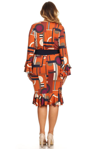 Plus Size Colorful Geo Print Bell Sleeve Dress
