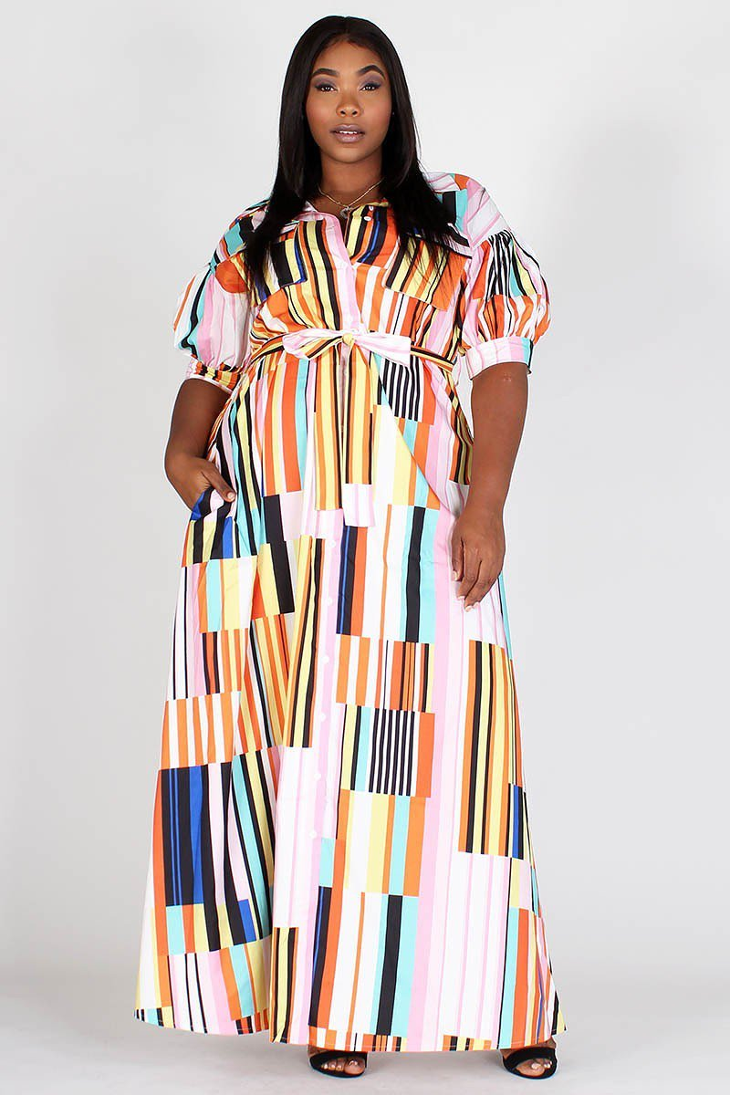 Plus Size Colorful Multi Stripe 3/4 Sleeve Pocketed Maxi Dress