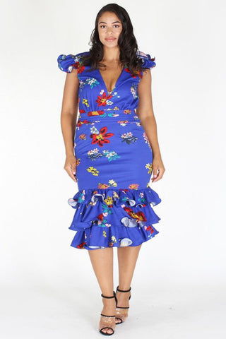 Plus Size Weekend Ruffle Floral Cap Sleeves Dress [PRE-ORDER 25% OFF]