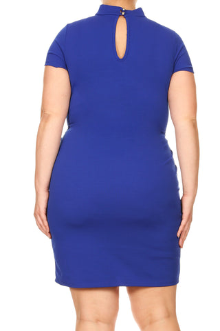 Plus Size Sexy Deep V Choker Cap Sleeve Dress [SALE]