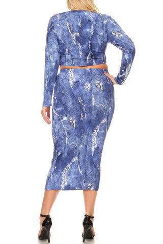 Plus Size Two Piece Zipper Back Denim Print Skirt Set