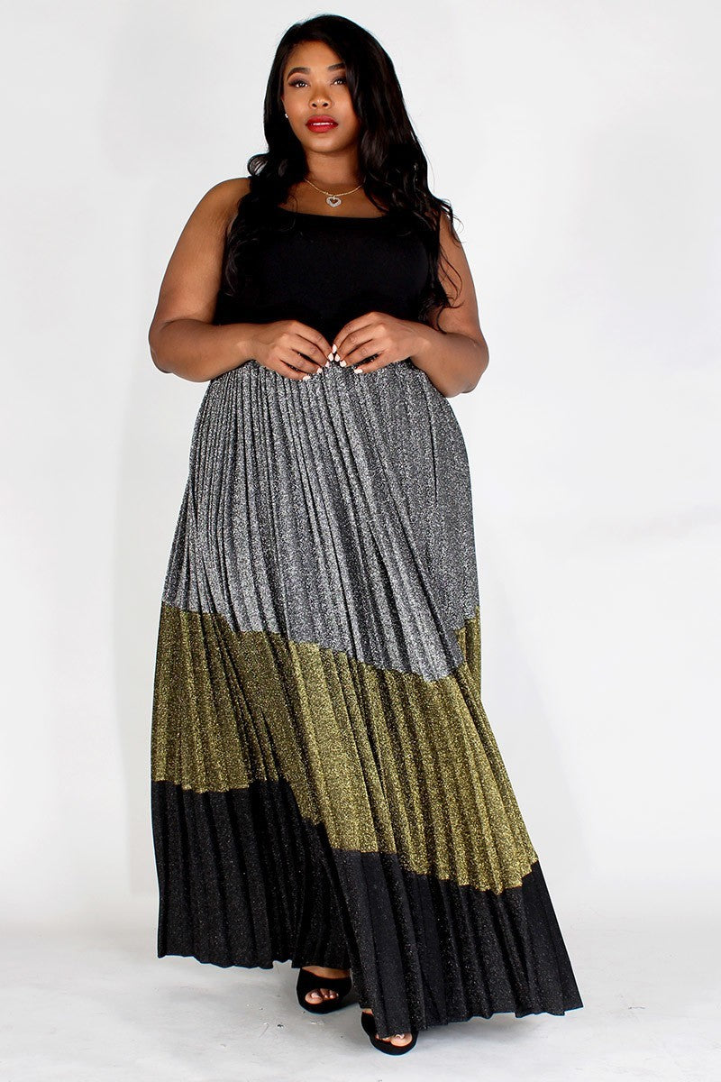 Plus Size Glitter Color Block High Waisted Maxi Skirt