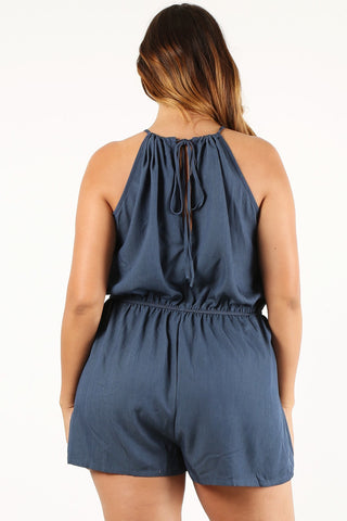 Plus Size Chambray Relaxed Waist Tie Romper